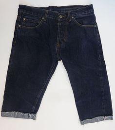 """Nudie Jeans Men's Pants Cut off Bermuda Shorts Blue Size 34""""x32"""" Slim Jim Denim #NudieJeans #Bermuda"""