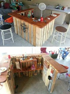 Pallet design furniture diy pallet 7 one small minibar can rock your party homesthetics 39 insanely smart and creative diy outdoor pallet furniture designs Pallet Furniture Designs, Pallet Designs, Bar Furniture, Outdoor Furniture, Bar Designs, Palette Furniture, Design Ideas, Wooden Furniture, Furniture Projects