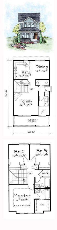 Narrow Lot House Plan   Total Living Area: 1297 sq. ft., 3 bedrooms and 2.5 bathrooms. #narrowlothome by sonya