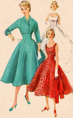 1950s Simplicity 4782 Womens ROCKABILLY Empire by sandritocat color illustration vintage fashion 50s red green white dress full skirt brocade shelf bust gored sewing pattern