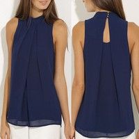 Wish | Women Casual Chiffon Blouse Sleeveless Shirt T-shirt Summer Blouse Tops