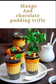 Cold, creamy and luscious dessert made by layering crushed biscuits, wobbly custard, mango coulis and homemade chocolate sauce Mango Chocolate, Chocolate Chia Pudding, Chocolate Custard, Chocolate Fudge, Desserts In A Glass, Dessert In A Jar, Cute Desserts, Mango Desserts, Mango Pudding