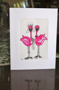 Wedding Card Fun Flamingos  original hand drawn by CreativaArt, $5.00