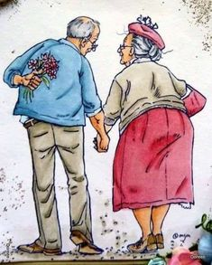Vieux Couples, Old Couples, Cute Couples, Sister Crafts, Mo Manning, Growing Old Together, Art Impressions, Old Love, Cross Paintings