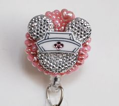 Nurse Minnie Mouse Light Silver Silhouette ID Badge Reel - Retractable ID Badge Holder - Zipperedheart by ZipperedHeart on Etsy