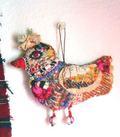 Meliaart Studio - Original art textile doll ornament colourful imaginative Bird hand-made and stitched by hand. Materials : muslin, wool. fabric collage, embroidery , thread, cotton, wood , button, fabric stiffener. Protected with matte finish spray.