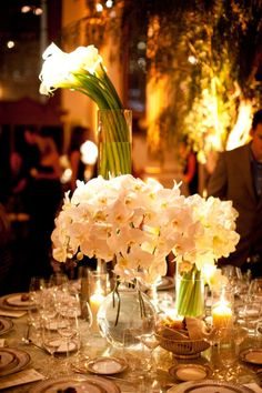 modern floral  arrangements of orchids and calla lilies