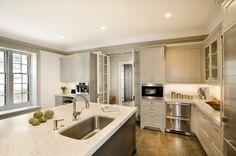 Suzie: Cassia Design - gray kitchen with light gray kitchen cabinets, dark gray kitchen ...