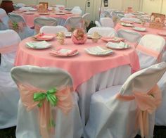 Decorations by CGZ Event Planning.  Sandra's Baby Shower. Pink and Green theme. Customized menus. Customized centerpieces. Customized souvenirs.