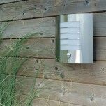 LED Solar Flush Wall Light with PIR Sensor - Stainless Steel - Lighting Direct
