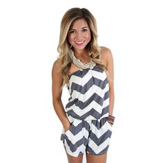 Beachy Stripe Romper Grey | Impressions Online Women's Clothing Boutique  This little chevron romper is perfect for the beach! It even has pockets!