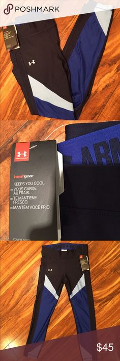 """New Under Armour Capri leggings New with tags, UA heat gear leggings, inseam: 23"""".  Comfortable waistband. Under Armour Pants"""