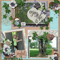 Enjoy Life- Up in the Trees  Credits:   Collection: Tree of Life by Aimee Harrison Designs Font Used:  KG Eyes Wide Open, Clipper Script (Personal Use), Lazy Spring Day and Pill Gothic 600 mg  Available at:   Ginger Scraps - http://store.gingerscraps.net/Tree-of-Life-Collection.html   Freebie Information -  There is a beautiful cluster freebie that coordinates to this gorgeous collection Find it here on the blog post about the collection:   http://aimeeharrisondesigns.com/
