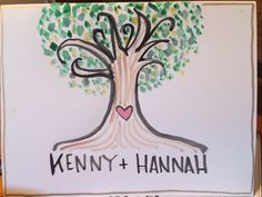 Wedding card- hand painted water color with tree and love- purchase at www.etsy.com/shop/loveOutrageously