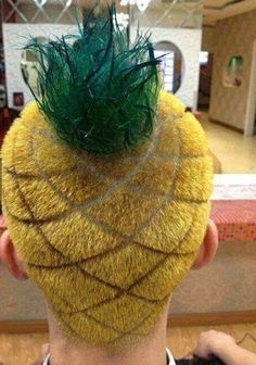 Sponge bob home hair...lol um...for those who know Pineapple, I'm thinking we make him do this for halloween?