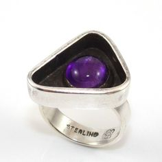#forsale > Sam Kramer (USA), vintage modernist sterling silver geometric ring with an amethyst cabochon. #usa | finlandjewelry.com