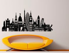Europe Cities Sights Landmark Retro Decal Wall Vinyl Sticker Home Interior Removable Bedroom Decor 57 x Vinyl Wall Decals, Wall Sticker, Book Wall, European Home Decor, Gothic House, Signage Design, Glass Ceramic, Home Art, Stickers