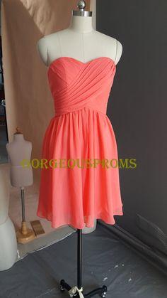 Cheap Short Coral Bridesmaid Dress Sweetheart Knee-length Custom Mint Grey Chiffon Prom Dress Wedding Party Dress 2014