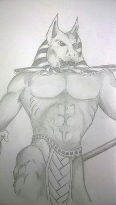 """Anúbis - Um dos meus primeiros desenhos criado por volta de 2004~2005... Feito com lápis HB em uma folha A4 de desenho enquanto assistia ao filme """"O Retorno da Múmia"""" no VHS."""