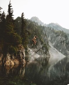 Weekends are for reflecting & jumping right on through reflections.  : @andrewtkearns at Snow Lake. #bluemovement