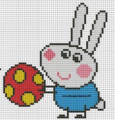 Richard Rabbit from Peppa Pig Cross Stitch For Kids, Cross Stitch Baby, Counted Cross Stitch Patterns, Cross Stitch Charts, Cross Stitch Embroidery, Machine Embroidery, Pig Character, Stitch Character, Knitting Machine Patterns