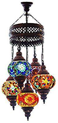 Lantern Style Unique Chandelier, Mosaic Bohemian Chandelier