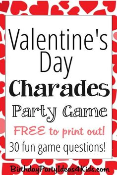 20 Valentine's day games for children and adults DIY game Kinder Valentines, Valentines Day Activities, Valentines Day Party, Valentine Ideas, Valentine Decorations, Valentine Crafts, Valentine's Day Party Games, Tween Party Games, Sleepover Games