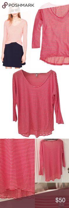 J.Crew prima jersey drop shoulder T-shirt stripe 🎁Offers encouraged & flexible                                                                                🔑Bundle to save 10%                                                                                                   👍Like for price drop notifications                                                                                                  EUC prima fabric, 80% modal viscose 20% nylon, soft slim drapey fit. Runs small. Item…