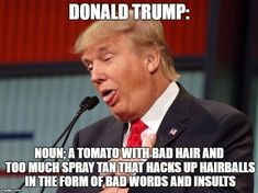 """""""Trump was accused of being a racist. He had two options: OPTION Stop being a racist; or OPTION Hire props from CraigsList to hold up """"Trump's Not a Racist"""" t-shirts his campaign made. Trump didn't squander any time considering OPTION Donald Trump Hair Meme, Anti Trump Meme, Caricatures, Republican Party, Dumb And Dumber, In This World, Just In Case, Presidents, Shit Happens"""