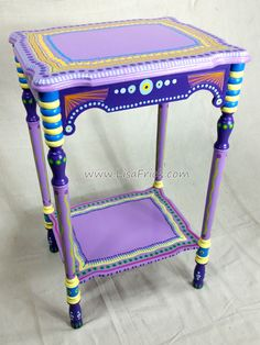 SOLD sample of CUSTOM WORK- Vintage Side Table- Custom Hand Painted Furniture Made to order by LisaFrick on Etsy https://www.etsy.com/listing/202746770/sold-sample-of-custom-work-vintage-side