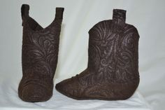 Cowboy Boots Booties -  3 to 6 Months - Soft felt. $15.00, via Etsy.