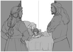 Little Fili reading to little Kili while Thorin or Dis watch from the doorway