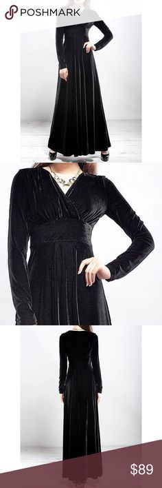 "Black Pleuche Velvet V Neck A-Line Maxi Dress Beautiful Pleuche Velvet floor length A line maxi dress long sleeved v-neck. Slimming. Great for autumn winter. Gothic boho bohemian. Size XL. Bust 37.80"",  waist 33.07"". Length 53.54"",  shoulder width 14.96"",  sleeve length 23.23"". Only one available. Save the most with bundles. I offer 25% off on bundles of 2+ items. I accept reasonable offers. No trades. I only do business on Poshmark. Boutique Dresses Maxi"