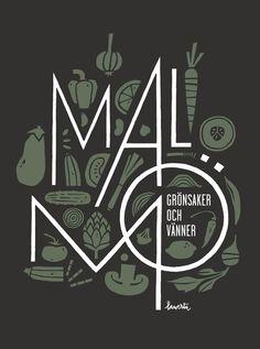 """""""Malmö, grönsaker och vänner"""" by Lawerta. Lettering illustration for vegetarian restaurant Malmö"""