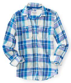 Long Sleeve Brenda Boyfriend Plaid Woven Shirt - Aeropostale   I want some plaid shirts lol
