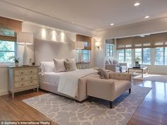 Big bedroom: A spacious bedroom offered a welcome personal retreat... #celebritybedrooms #tyrabanks