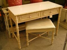 Faux Bamboo Desk & Bench