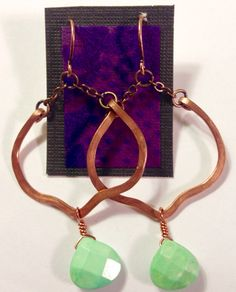 Hammered copper and dyed howlite lotus petal earrings