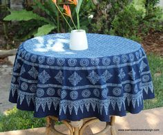 Beautiful 90 Inch Round Tablecloth for Dining Decor: Indigo Batik 90 Inch Round Tablecloth And Rattan Table With Patio Pavers Also Garden Landscape And Outdoor Design With Small Round Tablecloth Plus Patio Decoration And Round Tablecloths Cheap
