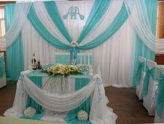 общий вид президиума, Текст, Украшение зала на свадьбу, Оформление свадьбы цветами, Свадьбы в голубом цвете