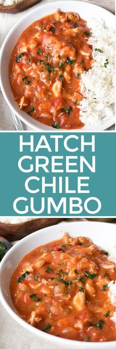 Hatch Green Chile Gumbo | cakenknife.com #mardigras, #dinner #soup Hatch Green Chili Recipe, Green Chili Recipes, Mexican Food Recipes, Soup Recipes, Chicken Recipes, Dinner Recipes, Cooking Recipes, Hatch Chili, Pepper Recipes
