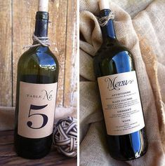 Wine Bottle Table Number/Menu Labels by Paper & Lace - an easy centerpiece for a wedding in wine country. #wedding #centerpieces #tablenumbers