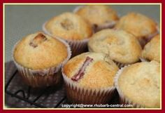 Banana Rhubarb Muffins: these are amazing, thanks to my neighbor for the rhubarb