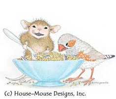 """Mudpie & friend from House-Mouse Designs® featured on the The Daily Squeek® for Feb. 4th, 2013. Click on the image to see it on a bunch of really """"Mice"""" products."""