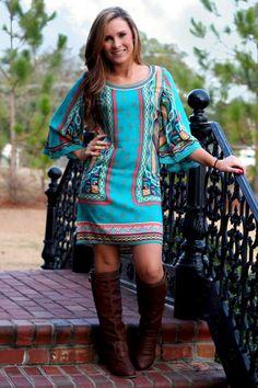 Bohemian Tunic Dress: Jade