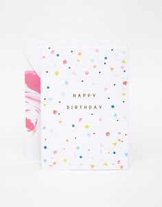 Greeting card by Meri Meri Birthday card Text print inside White envelope Comes with a birthday garland