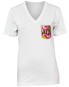 30f7e51609b20f Alpha Gamma Delta Rose Custom Pocket V-Neck