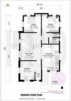 2365 Square Feet, 3 Bedroom Flat Roof Style House With Free Floor Plan By  Bhagwan