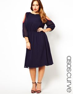 ASOS CURVE Midi Dress With Cold Shoulder And Piping