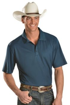 Ariat Steel Blue Tek Polo Shirt available at #Sheplers